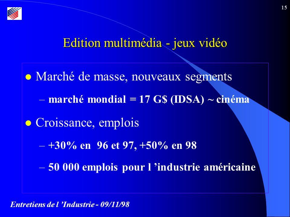 Entretiens de l Industrie - 09/11/98 15 l Marché de masse, nouveaux segments –marché mondial = 17 G$ (IDSA) ~ cinéma l Croissance, emplois –+30% en 96 et 97, +50% en 98 –50 000 emplois pour l industrie américaine Edition multimédia - jeux vidéo
