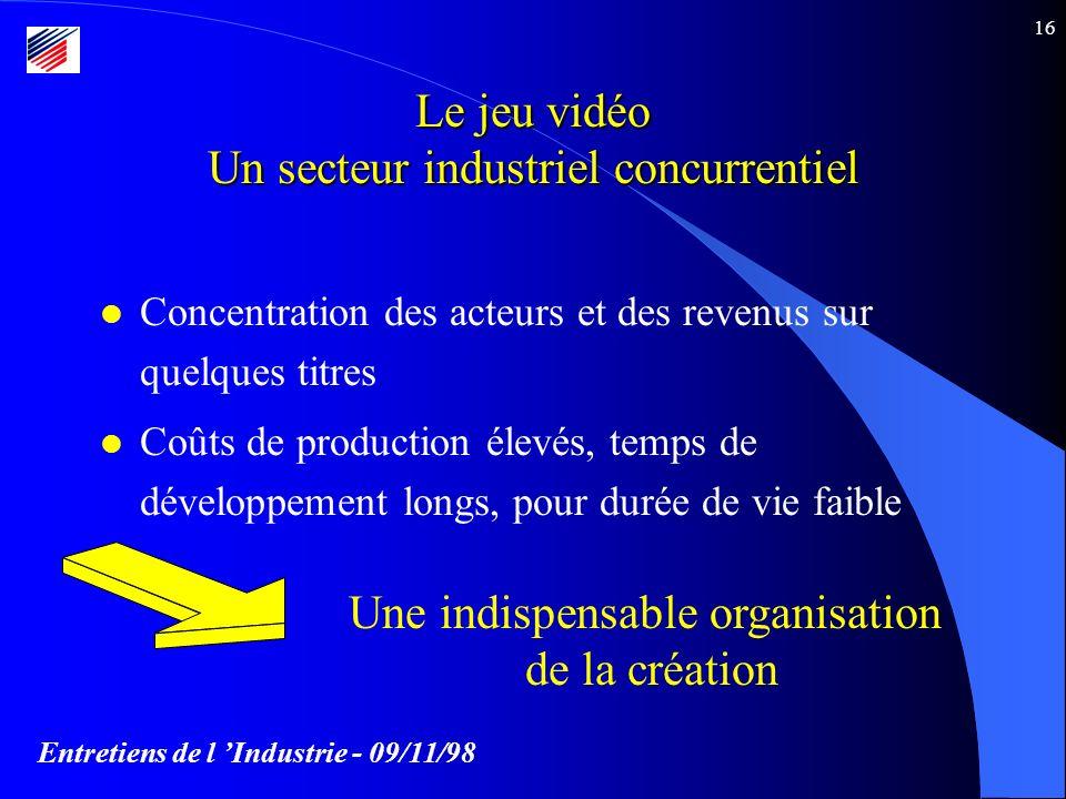 Entretiens de l Industrie - 09/11/98 16 Le jeu vidéo Un secteur industriel concurrentiel l Concentration des acteurs et des revenus sur quelques titres l Coûts de production élevés, temps de développement longs, pour durée de vie faible Une indispensable organisation de la création