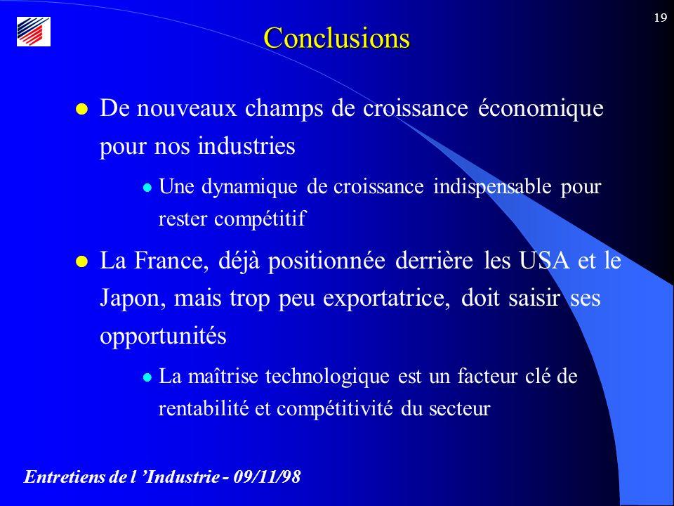 Entretiens de l Industrie - 09/11/98 19Conclusions l De nouveaux champs de croissance économique pour nos industries l Une dynamique de croissance indispensable pour rester compétitif l La France, déjà positionnée derrière les USA et le Japon, mais trop peu exportatrice, doit saisir ses opportunités l La maîtrise technologique est un facteur clé de rentabilité et compétitivité du secteur