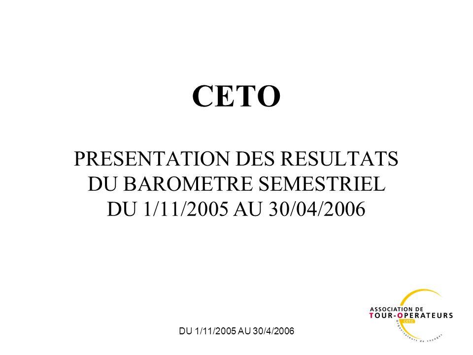 DU 1/11/2005 AU 30/4/2006 CETO PRESENTATION DES RESULTATS DU BAROMETRE SEMESTRIEL DU 1/11/2005 AU 30/04/2006