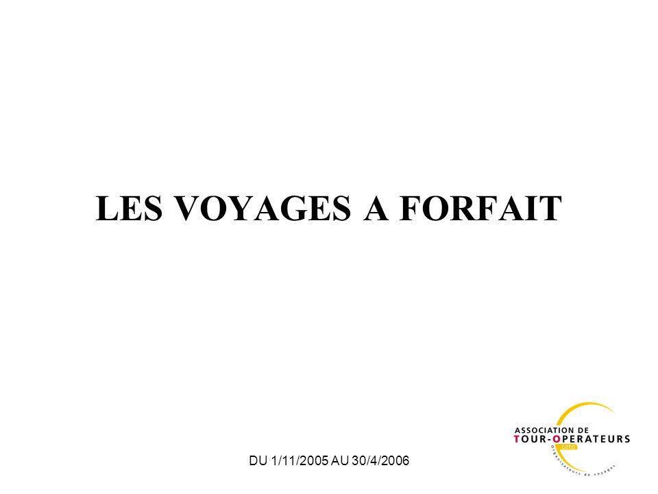 DU 1/11/2005 AU 30/4/2006 VOYAGES A FORFAIT – Du 1/11/2005 au 30/04/2006 REPARTITION PAR ZONE PASSAGERSEvolutionRECETTE UNITAIRE EvolutionVOLUME DAFFAIRES Evolution France 538 567+5,1 %386 +3,6 %208 M+8,9 % Moyen Courrier 904 648-5,8 %683 +2,4 %618 M-3,5 % Long courrier 584 867+4,5 %1 479 +5,3 %865 M+10,0 % Total 2 028 082-0,3 %834 +4,6 %1 691 M+4,3 %