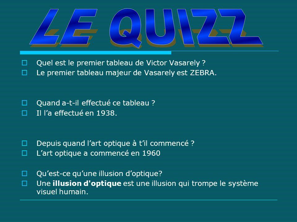 Quel est le premier tableau de Victor Vasarely ? Le premier tableau majeur de Vasarely est ZEBRA. Quand a-t-il effectué ce tableau ? Il la effectué en
