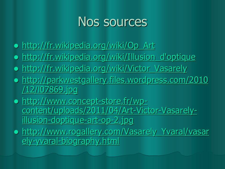 Nos sources http://fr.wikipedia.org/wiki/Op_Art http://fr.wikipedia.org/wiki/Op_Art http://fr.wikipedia.org/wiki/Op_Art http://fr.wikipedia.org/wiki/I
