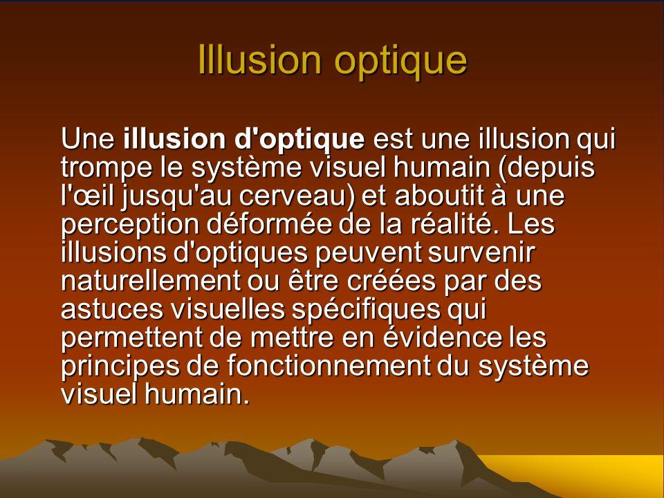 Illusion optique Une illusion d'optique est une illusion qui trompe le système visuel humain (depuis l'œil jusqu'au cerveau) et aboutit à une percepti