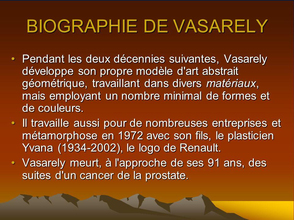 BIOGRAPHIE DE VASARELY Pendant les deux décennies suivantes, Vasarely développe son propre modèle d'art abstrait géométrique, travaillant dans divers