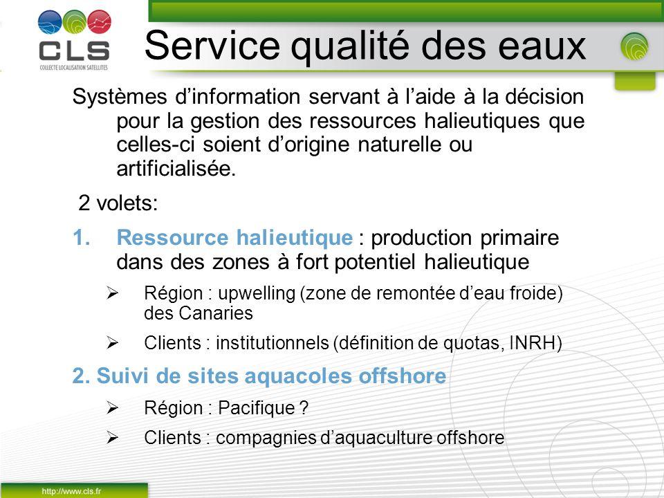 Service qualité des eaux Systèmes dinformation servant à laide à la décision pour la gestion des ressources halieutiques que celles-ci soient dorigine