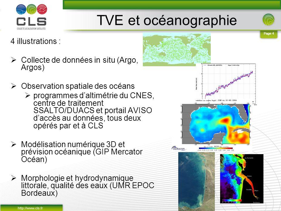 Page 4 TVE et océanographie 4 illustrations : Collecte de données in situ (Argo, Argos) Observation spatiale des océans programmes daltimétrie du CNES