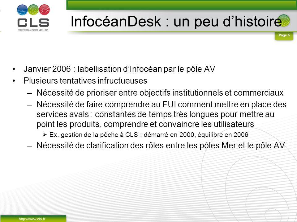 Page 5 InfocéanDesk : un peu dhistoire Janvier 2006 : labellisation dInfocéan par le pôle AV Plusieurs tentatives infructueuses –Nécessité de priorise