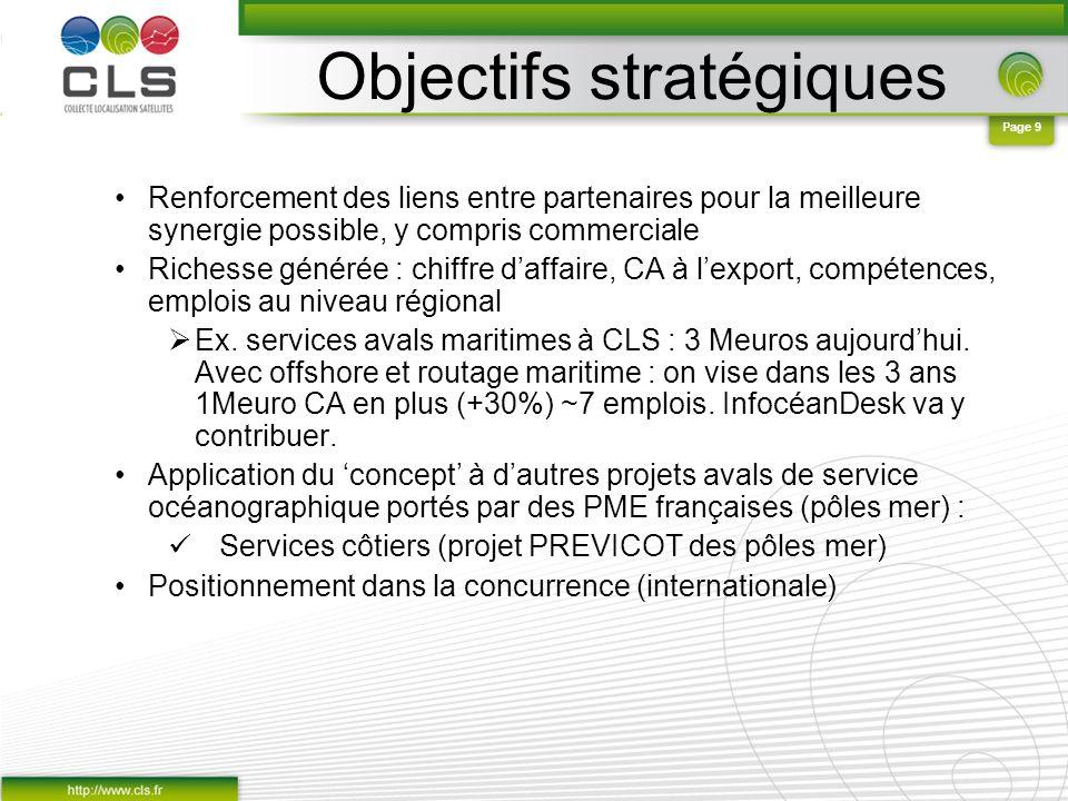 Page 9 Objectifs stratégiques Renforcement des liens entre partenaires pour la meilleure synergie possible, y compris commerciale Richesse générée : c