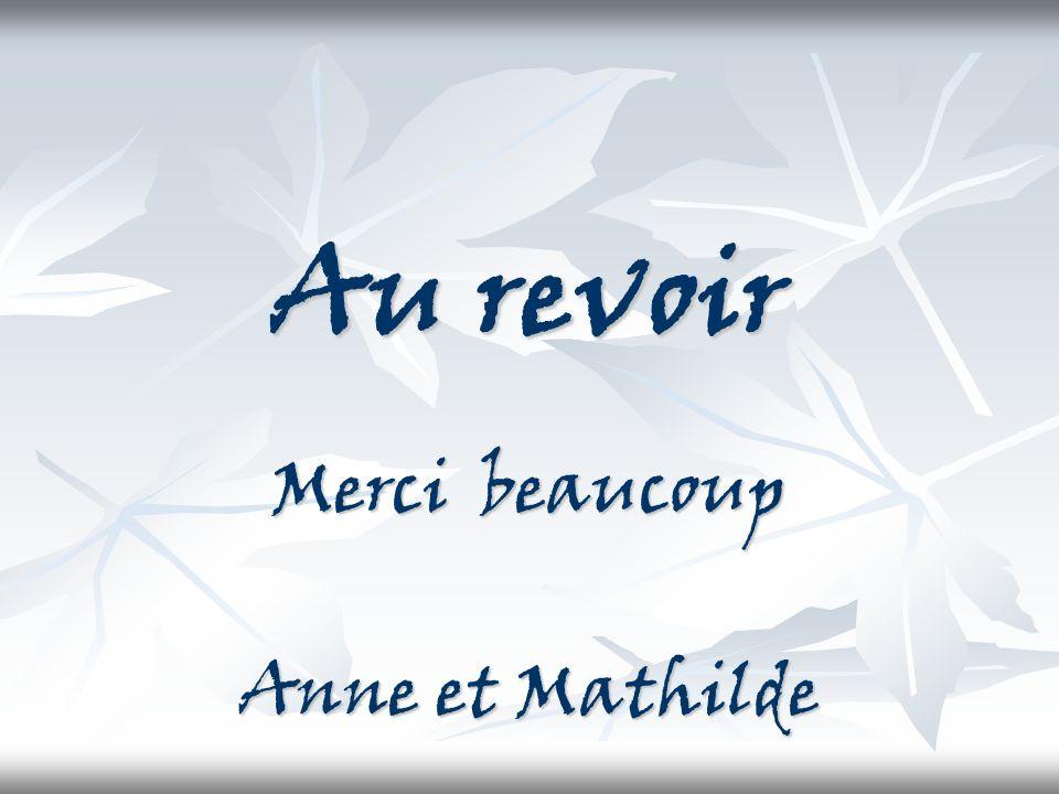 Au revoir Merci beaucoup Anne et Mathilde