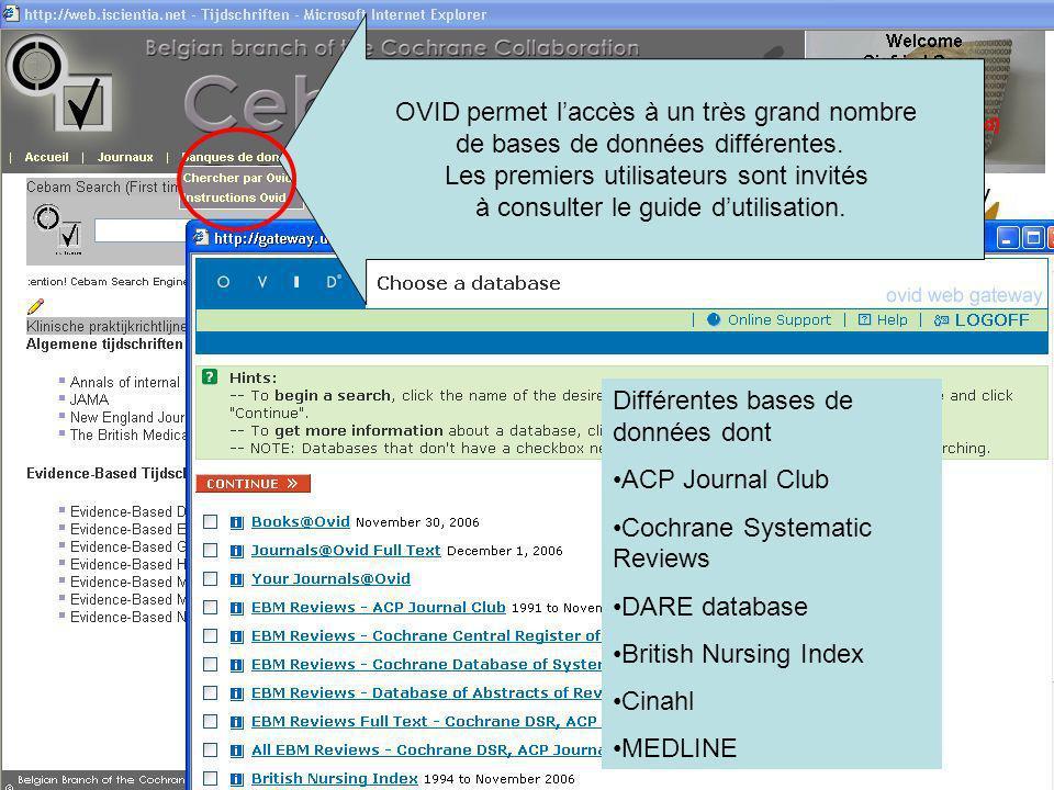 OVID permet laccès à un très grand nombre de bases de données différentes.