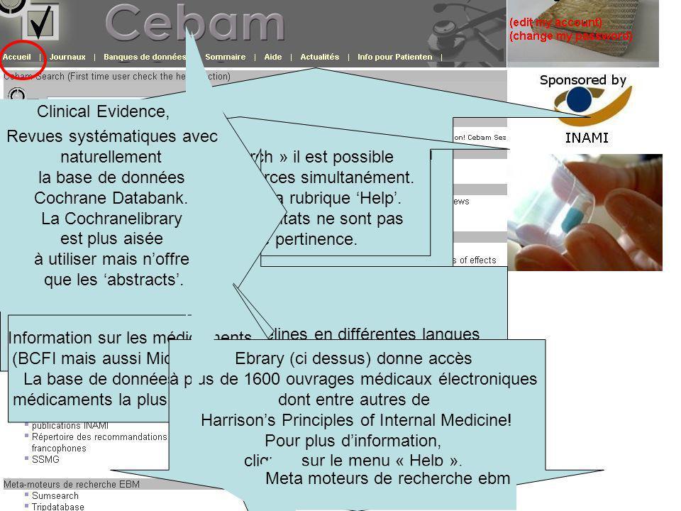 Ci-dessus, se trouve le bandeau daccès à différentes pages Grâce à « Cebam Search » il est possible de consulter différentes sources simultanément.