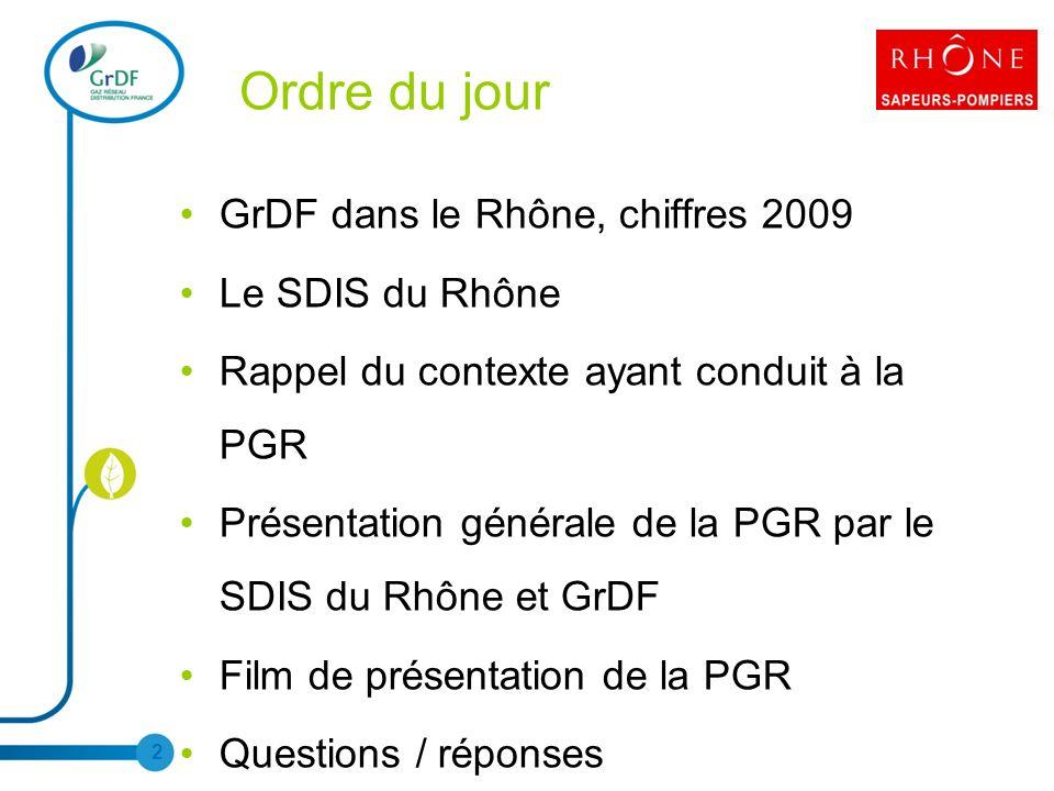 Ordre du jour GrDF dans le Rhône, chiffres 2009 Le SDIS du Rhône Rappel du contexte ayant conduit à la PGR Présentation générale de la PGR par le SDIS du Rhône et GrDF Film de présentation de la PGR Questions / réponses 2