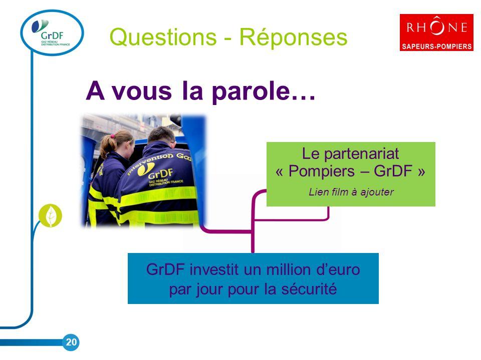 20 Le partenariat « Pompiers – GrDF » Lien film à ajouter GrDF investit un million deuro par jour pour la sécurité A vous la parole… Questions - Réponses