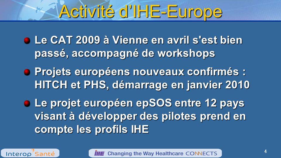 Activité dIHE-Europe Le CAT 2009 à Vienne en avril s est bien passé, accompagné de workshops Projets européens nouveaux confirmés : HITCH et PHS, démarrage en janvier 2010 Le projet européen epSOS entre 12 pays visant à développer des pilotes prend en compte les profils IHE 4