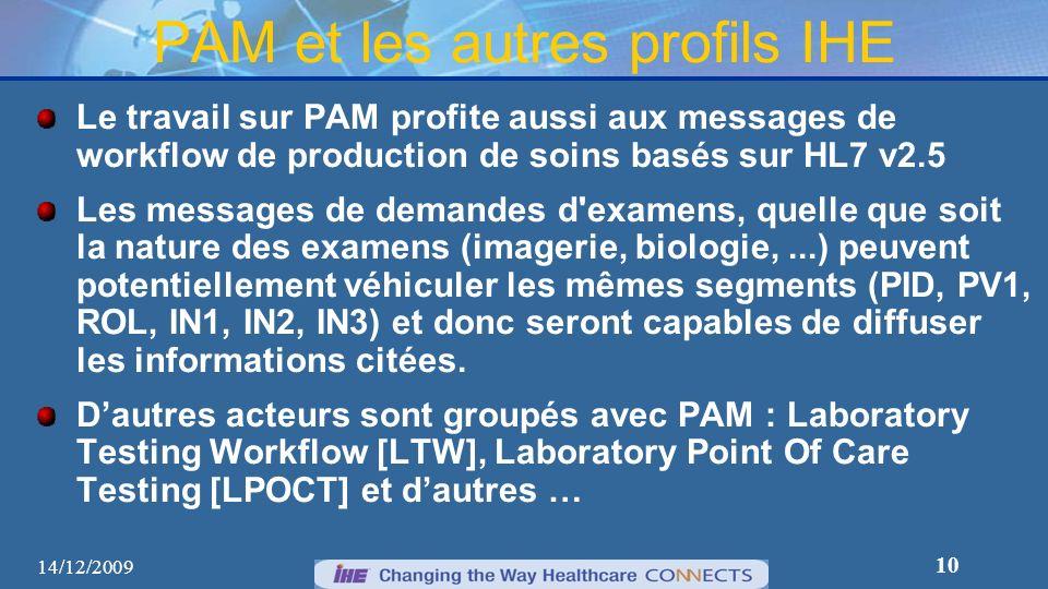 10 PAM et les autres profils IHE Le travail sur PAM profite aussi aux messages de workflow de production de soins basés sur HL7 v2.5 Les messages de d