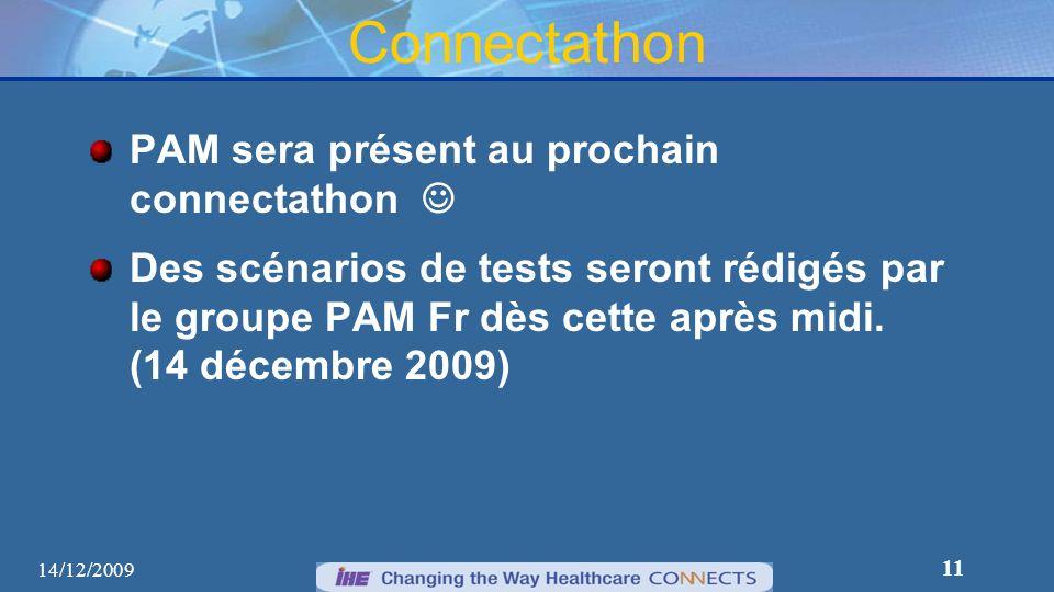 11 Connectathon PAM sera présent au prochain connectathon Des scénarios de tests seront rédigés par le groupe PAM Fr dès cette après midi. (14 décembr