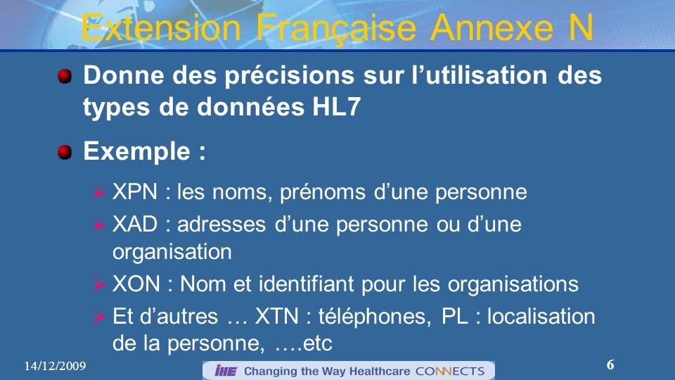 6 Extension Française Annexe N Donne des précisions sur lutilisation des types de données HL7 Exemple : XPN : les noms, prénoms dune personne XAD : ad