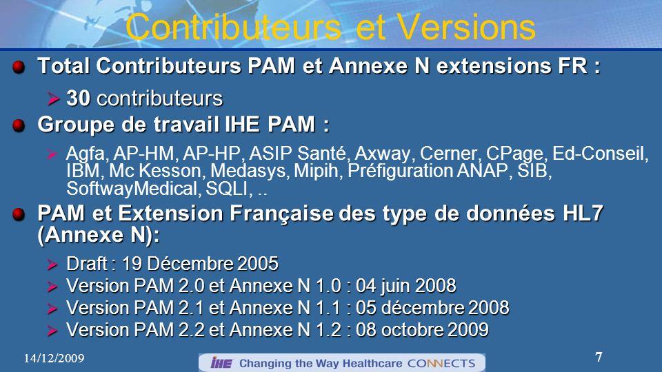 7 Contributeurs et Versions Total Contributeurs PAM et Annexe N extensions FR : 30 contributeurs 30 contributeurs Groupe de travail IHE PAM : Agfa, AP