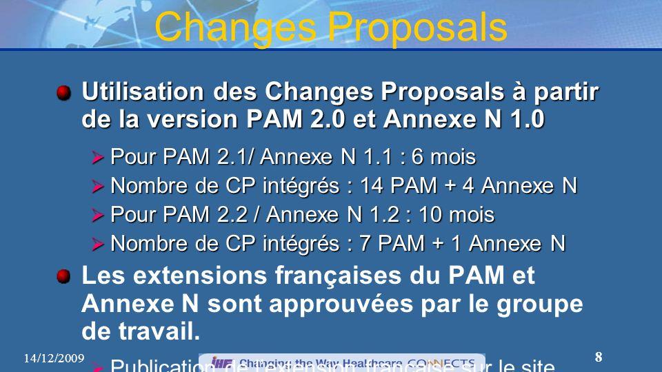 8 Changes Proposals Utilisation des Changes Proposals à partir de la version PAM 2.0 et Annexe N 1.0 Pour PAM 2.1/ Annexe N 1.1 : 6 mois Pour PAM 2.1/