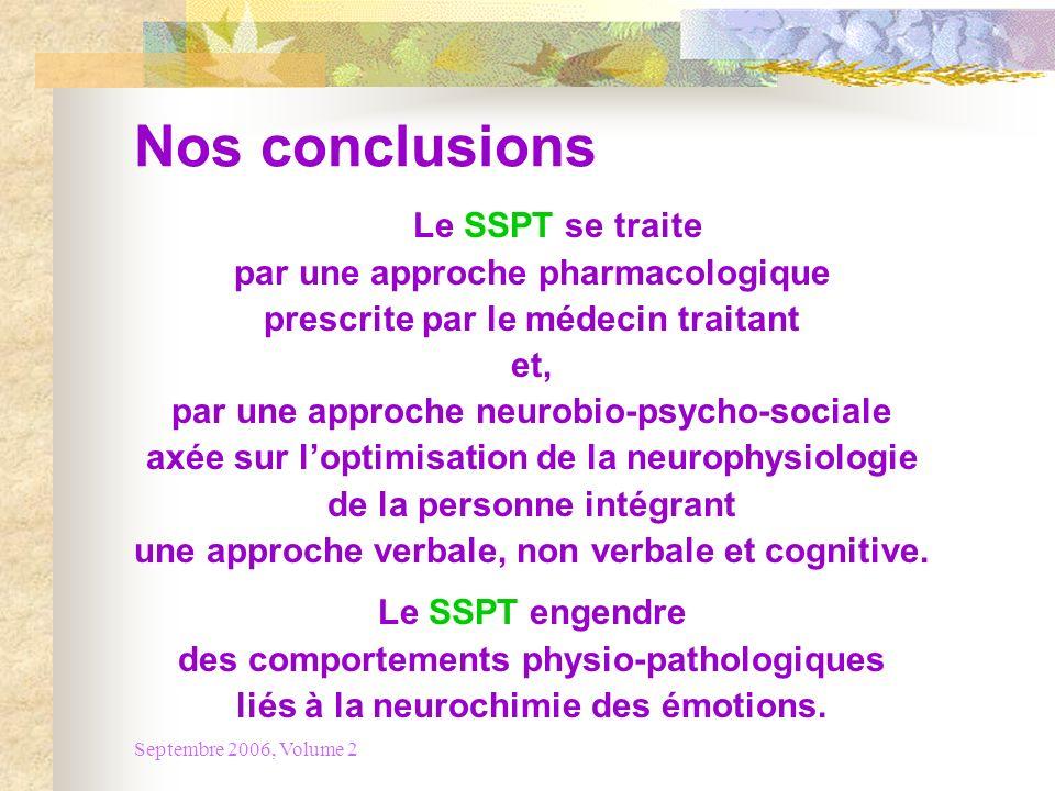 Septembre 2006, Volume 2 Nos conclusions Le SSPT se traite par une approche pharmacologique prescrite par le médecin traitant et, par une approche neu