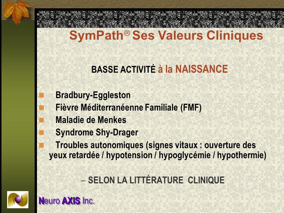 NAXIS N euro AXIS Inc. BASSE ACTIVITÉ à la NAISSANCE Bradbury-Eggleston Fièvre Méditerranéenne Familiale (FMF) Maladie de Menkes Syndrome Shy-Drager T