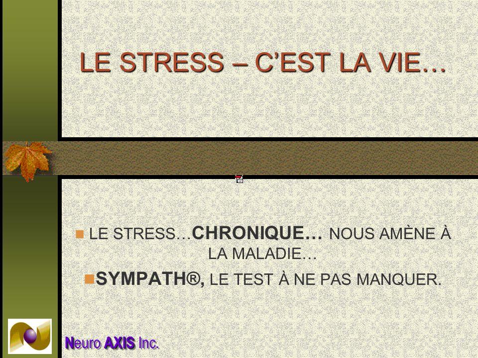 LE STRESS – CEST LA VIE… LE STRESS… CHRONIQUE… NOUS AMÈNE À LA MALADIE… SYMPATH®, LE TEST À NE PAS MANQUER. NAXIS N euro AXIS Inc.