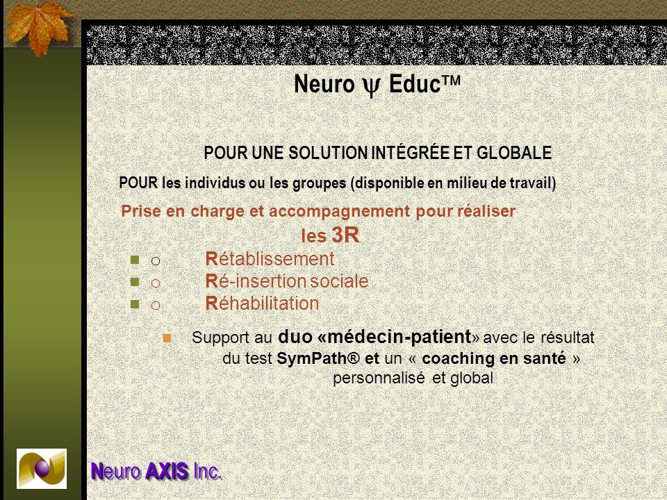 Neuro Educ POUR UNE SOLUTION INTÉGRÉE ET GLOBALE POUR les individus ou les groupes (disponible en milieu de travail) Prise en charge et accompagnement