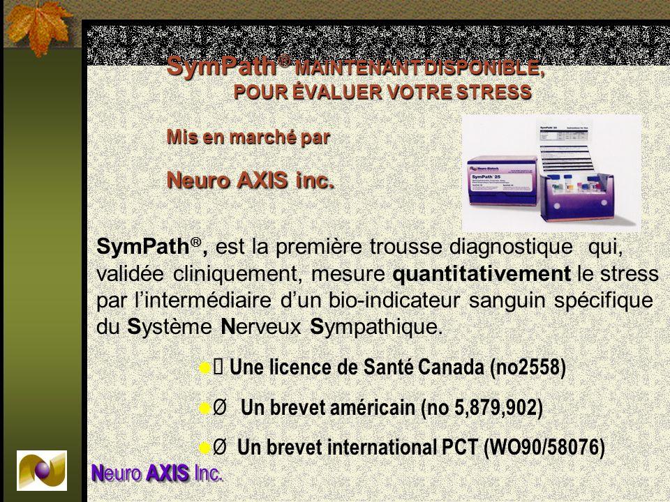 NAXIS N euro AXIS Inc. SymPath MAINTENANT DISPONIBLE, POUR ÉVALUER VOTRE STRESS Mis en marché par Neuro AXIS inc. SymPath, est la première trousse dia