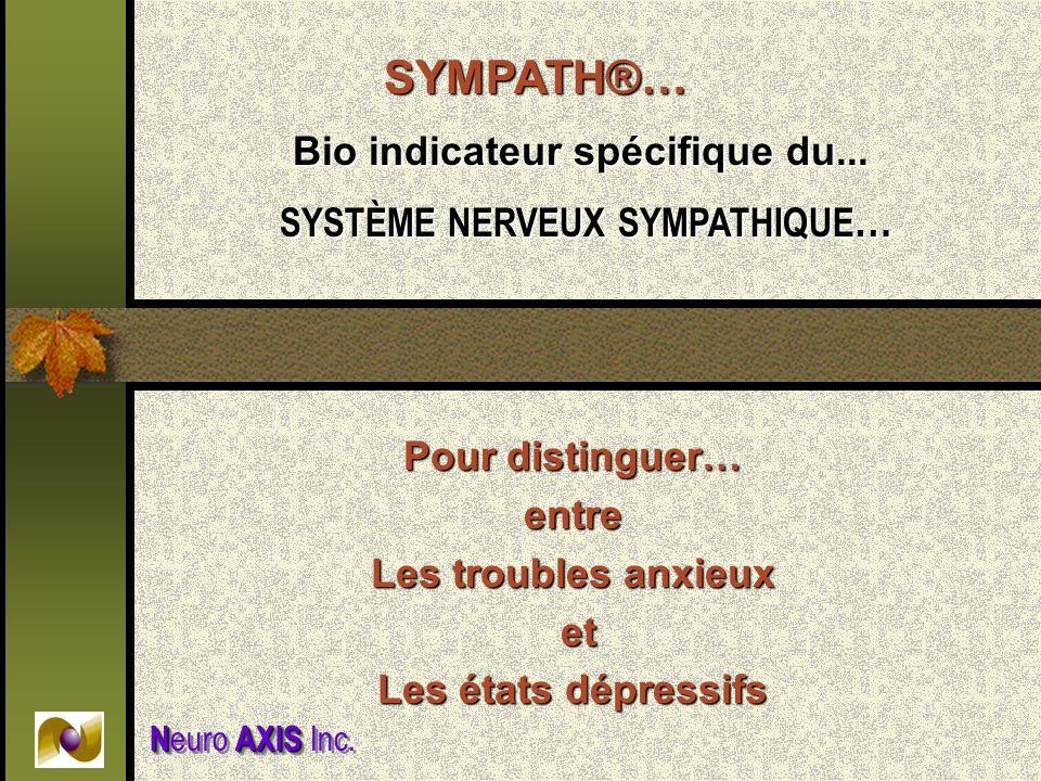 Pour distinguer… entre Les troubles anxieux et et Les états dépressifs SYMPATH®… Bio indicateur spécifique du... Bio indicateur spécifique du... SYSTÈ