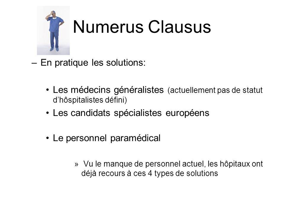 Numerus Clausus –En pratique les solutions: Les médecins généralistes (actuellement pas de statut dhôspitalistes défini) Les candidats spécialistes eu