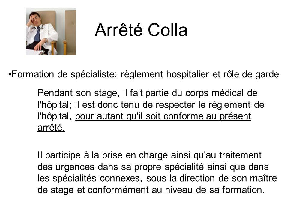 Formation de spécialiste: règlement hospitalier et rôle de garde Pendant son stage, il fait partie du corps médical de l'hôpital; il est donc tenu de