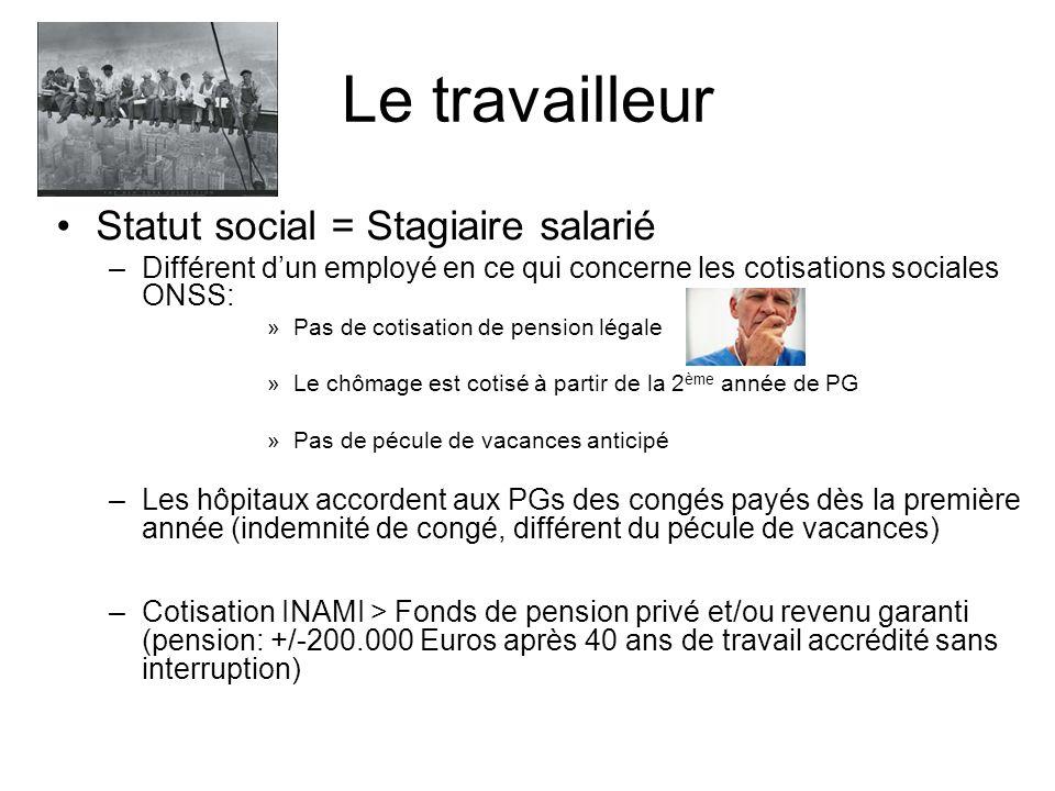 Le travailleur Statut social = Stagiaire salarié –Différent dun employé en ce qui concerne les cotisations sociales ONSS: »Pas de cotisation de pensio