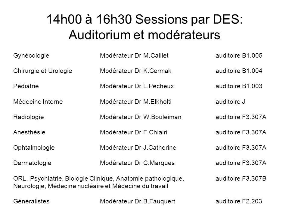 14h00 à 16h30 Sessions par DES: Auditorium et modérateurs GynécologieModérateur Dr M.Caillet auditoire B1.005 Chirurgie et UrologieModérateur Dr K.Cer