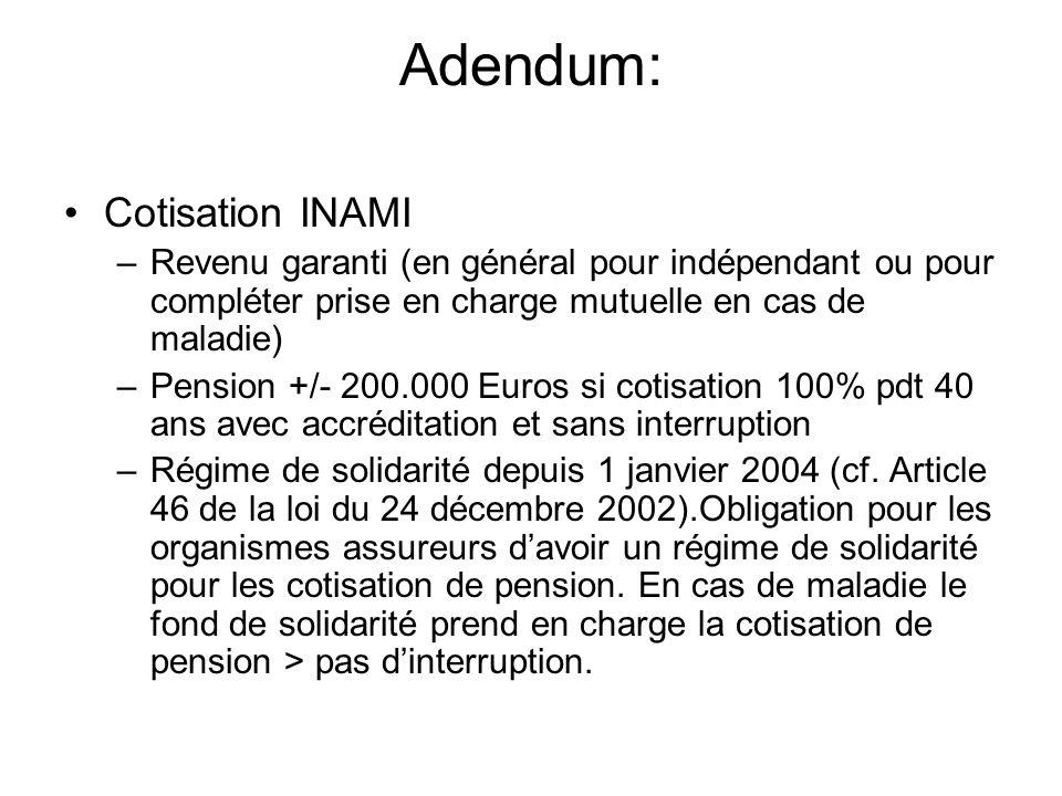 Adendum: Cotisation INAMI –Revenu garanti (en général pour indépendant ou pour compléter prise en charge mutuelle en cas de maladie) –Pension +/- 200.