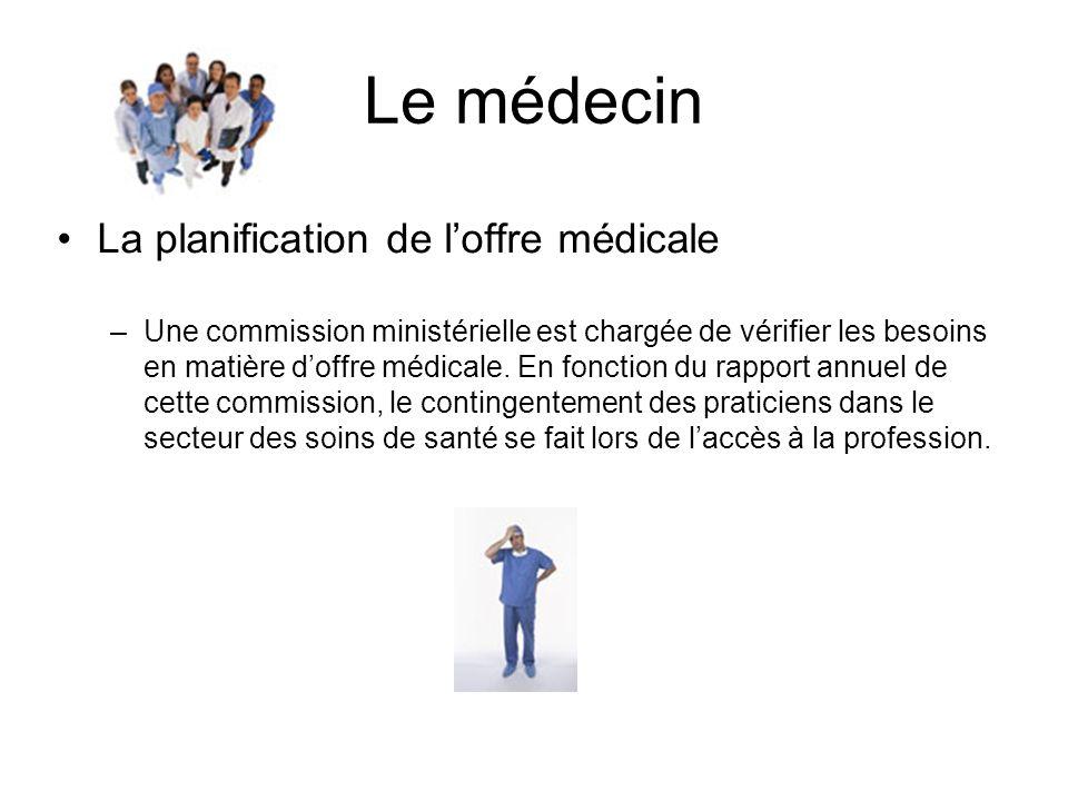 Le médecin La planification de loffre médicale –Une commission ministérielle est chargée de vérifier les besoins en matière doffre médicale. En foncti