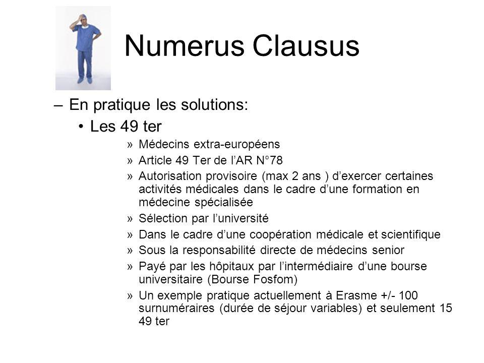 Numerus Clausus –En pratique les solutions: Les 49 ter »Médecins extra-européens »Article 49 Ter de lAR N°78 »Autorisation provisoire (max 2 ans ) dex