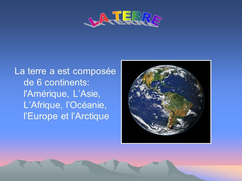 La terre a est composée de 6 continents: l Amérique, LAsie, LAfrique, lOcéanie, lEurope et lArctique