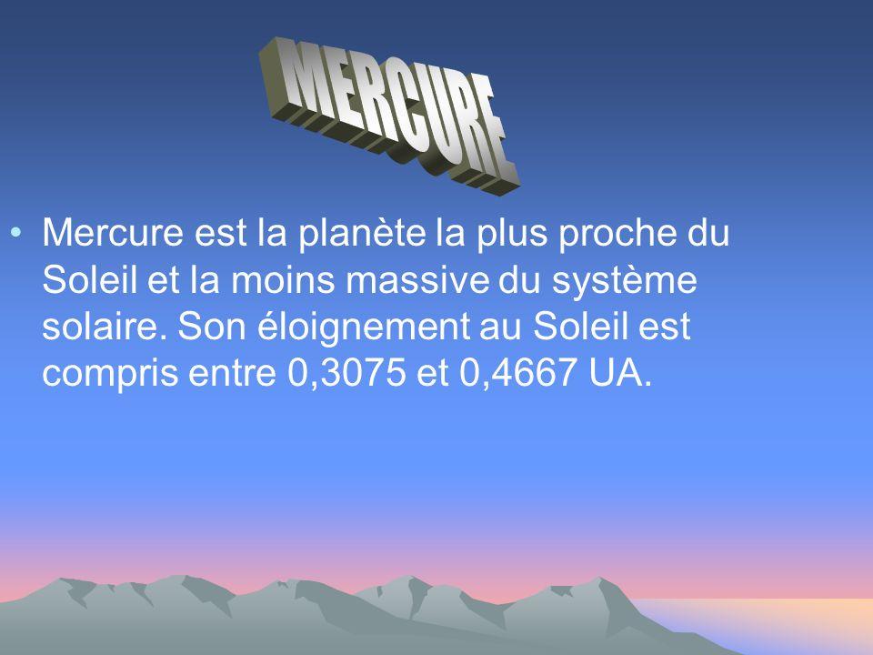 Mercure est la planète la plus proche du Soleil et la moins massive du système solaire.