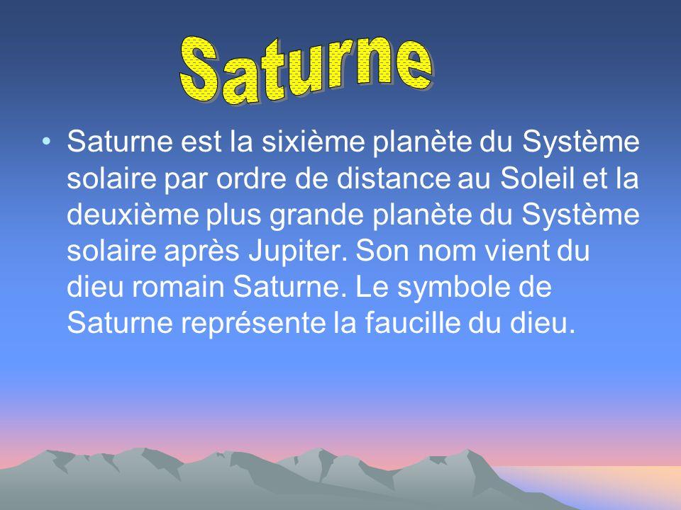Saturne est la sixième planète du Système solaire par ordre de distance au Soleil et la deuxième plus grande planète du Système solaire après Jupiter.