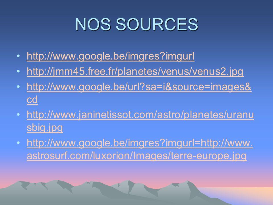 NOS SOURCES http://www.google.be/imgres?imgurl http://jmm45.free.fr/planetes/venus/venus2.jpg http://www.google.be/url?sa=i&source=images& cdhttp://www.google.be/url?sa=i&source=images& cd http://www.janinetissot.com/astro/planetes/uranu sbig.jpghttp://www.janinetissot.com/astro/planetes/uranu sbig.jpg http://www.google.be/imgres?imgurl=http://www.