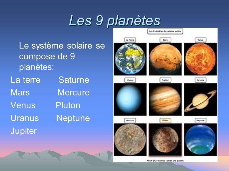 Les 9 planètes Le système solaire se compose de 9 planètes: La terre Saturne Mars Mercure Venus Pluton Uranus Neptune Jupiter
