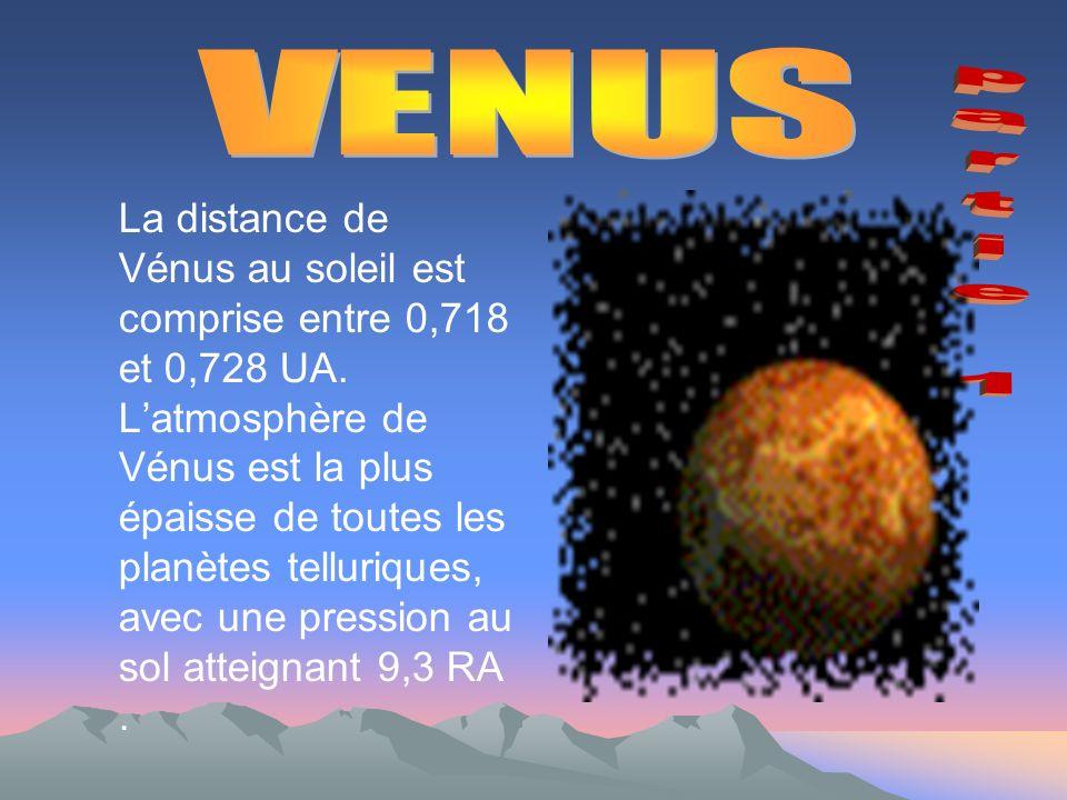 La distance de Vénus au soleil est comprise entre 0,718 et 0,728 UA.
