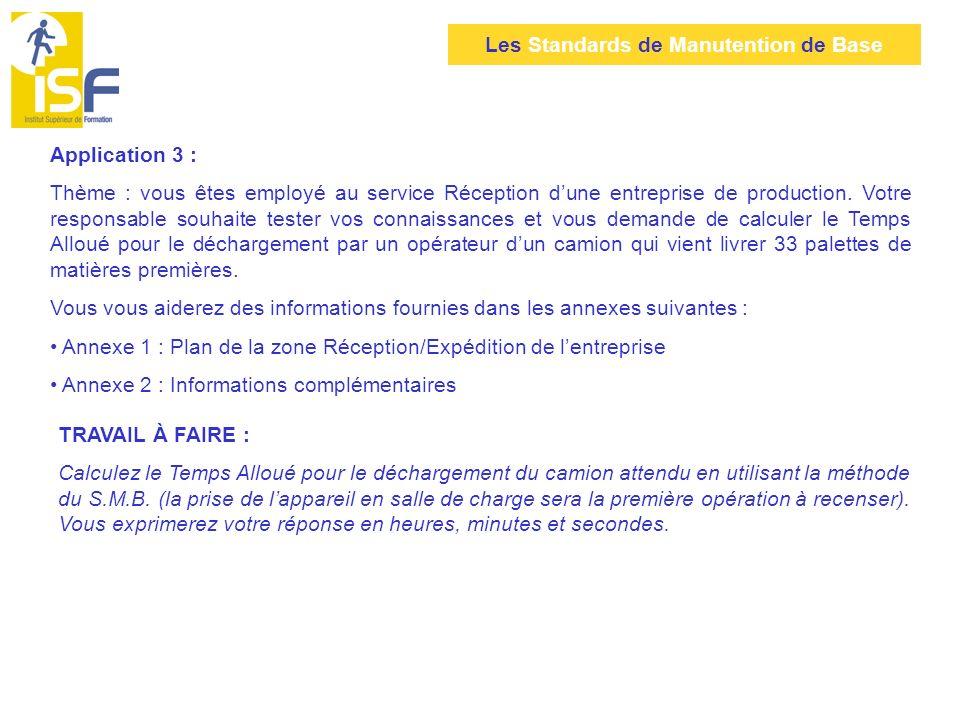Les Standards de Manutention de Base Application 3 : Thème : vous êtes employé au service Réception dune entreprise de production. Votre responsable s