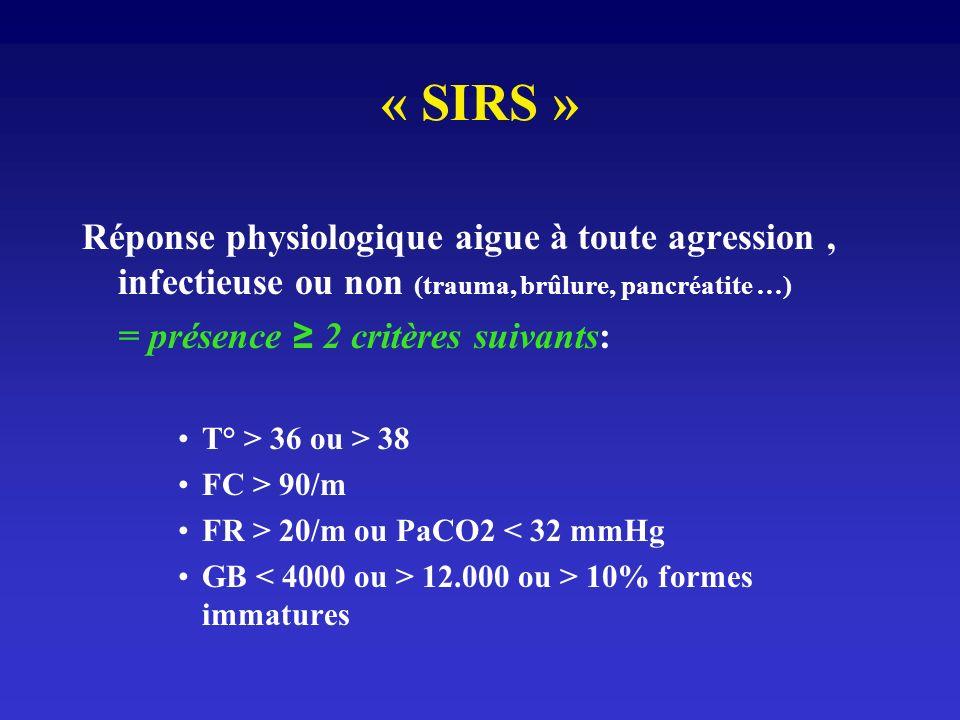 « SIRS » Réponse physiologique aigue à toute agression, infectieuse ou non (trauma, brûlure, pancréatite …) = présence 2 critères suivants: T° > 36 ou