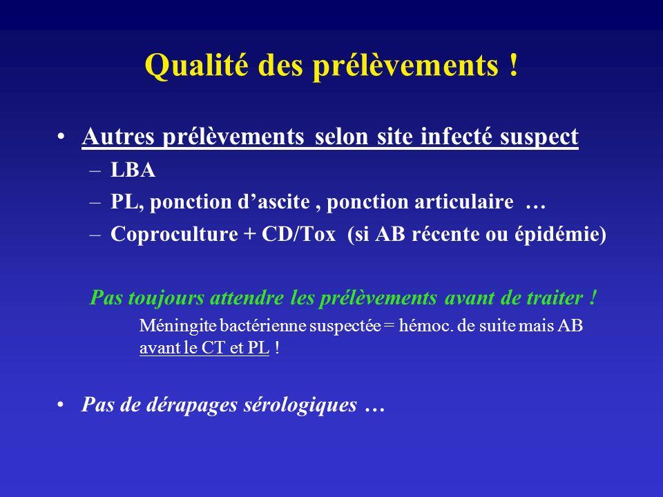Qualité des prélèvements ! Autres prélèvements selon site infecté suspect –LBA –PL, ponction dascite, ponction articulaire … –Coproculture + CD/Tox (s
