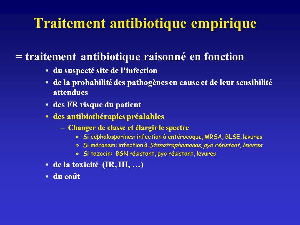 Traitement antibiotique empirique = traitement antibiotique raisonné en fonction du suspecté site de linfection de la probabilité des pathogènes en ca