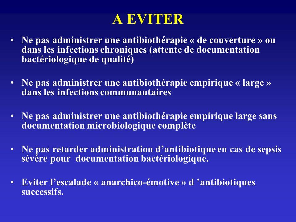 A EVITER Ne pas administrer une antibiothérapie « de couverture » ou dans les infections chroniques (attente de documentation bactériologique de quali