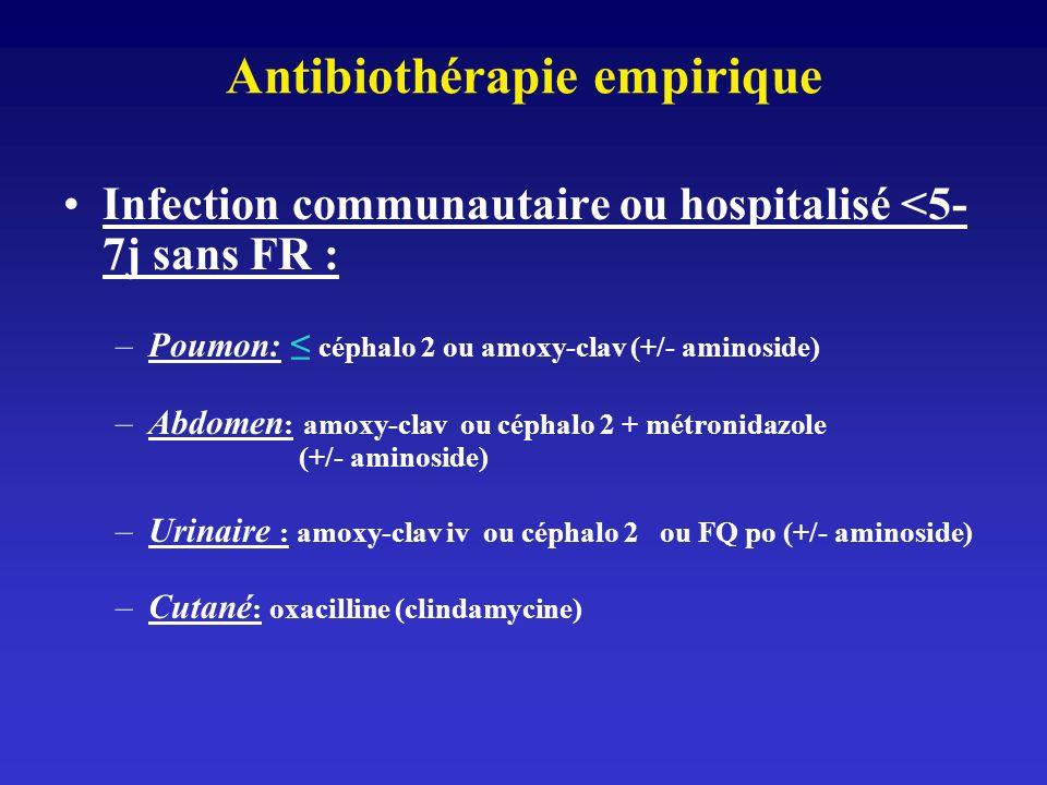 Antibiothérapie empirique Infection communautaire ou hospitalisé <5- 7j sans FR : –Poumon: céphalo 2 ou amoxy-clav (+/- aminoside) –Abdomen : amoxy-cl