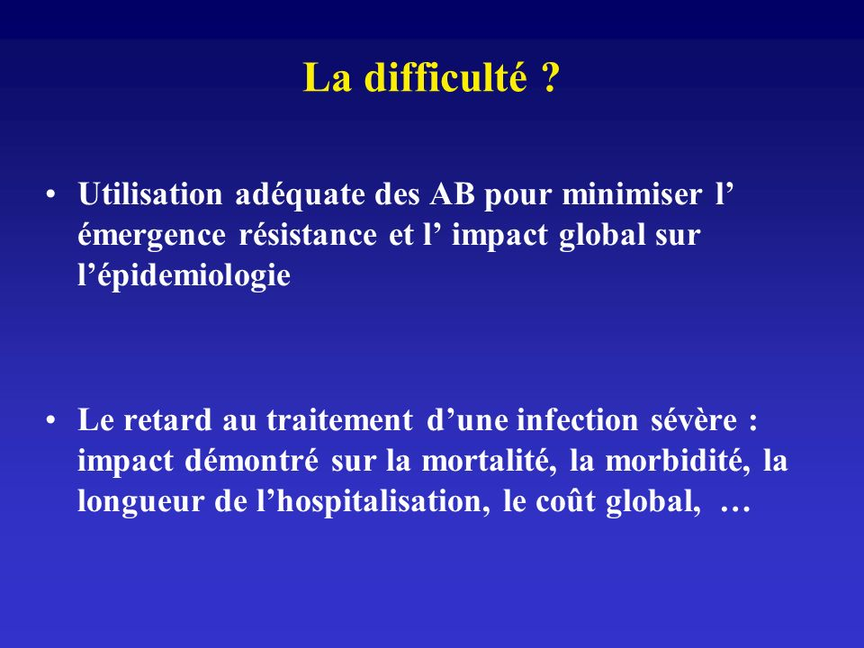 La difficulté ? Utilisation adéquate des AB pour minimiser l émergence résistance et l impact global sur lépidemiologie Le retard au traitement dune i